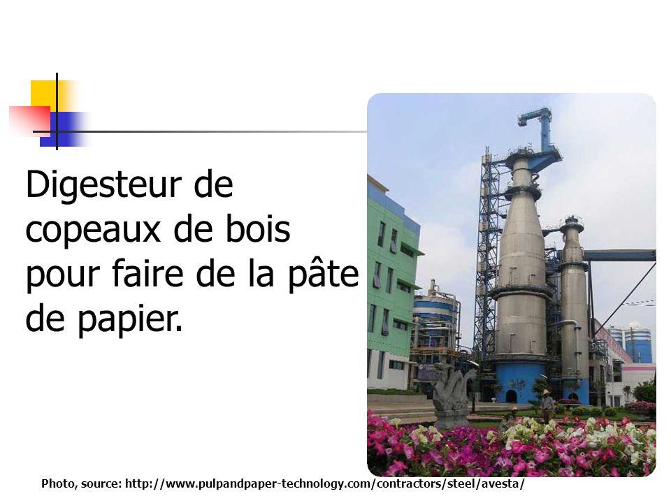 Digesteur de copeaux de bois pour faire de la pâte de papier. Photo, source: http://www.pulpandpaper-technology.com/contractors/steel/avesta/