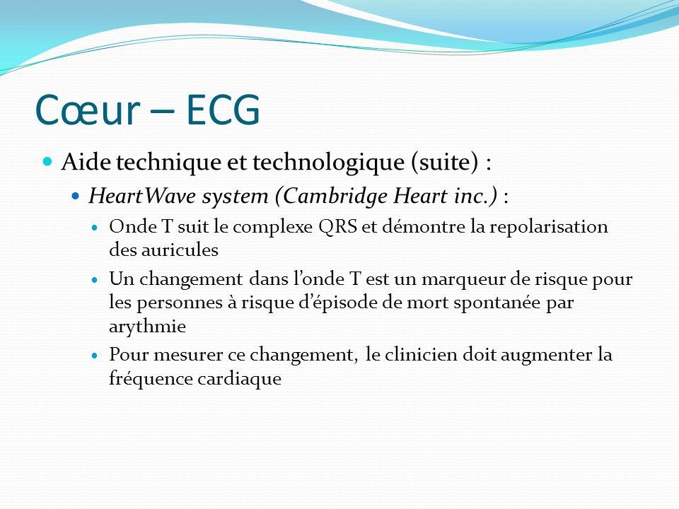Cœur – ECG Aide technique et technologique (suite) : HeartWave system (Cambridge Heart inc.) : Onde T suit le complexe QRS et démontre la repolarisati