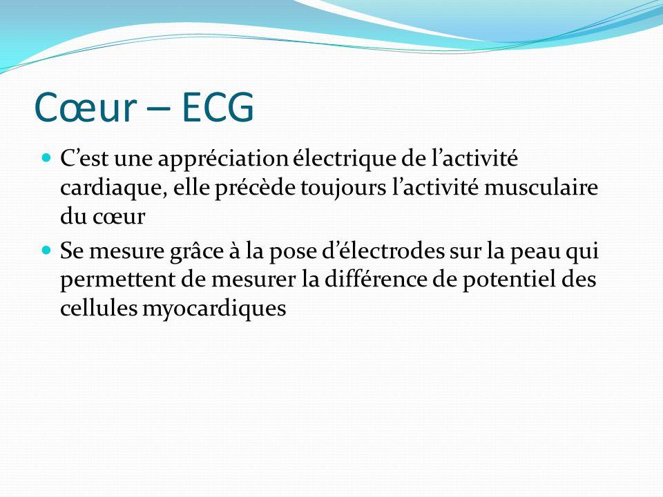 Cœur – ECG Donne des renseignements sur : La fréquence cardiaque Le rythme cardiaque La conduction (blocs) Lischémie Laxe du cœur Lorigine de la dépolarisation Lhypertrophie