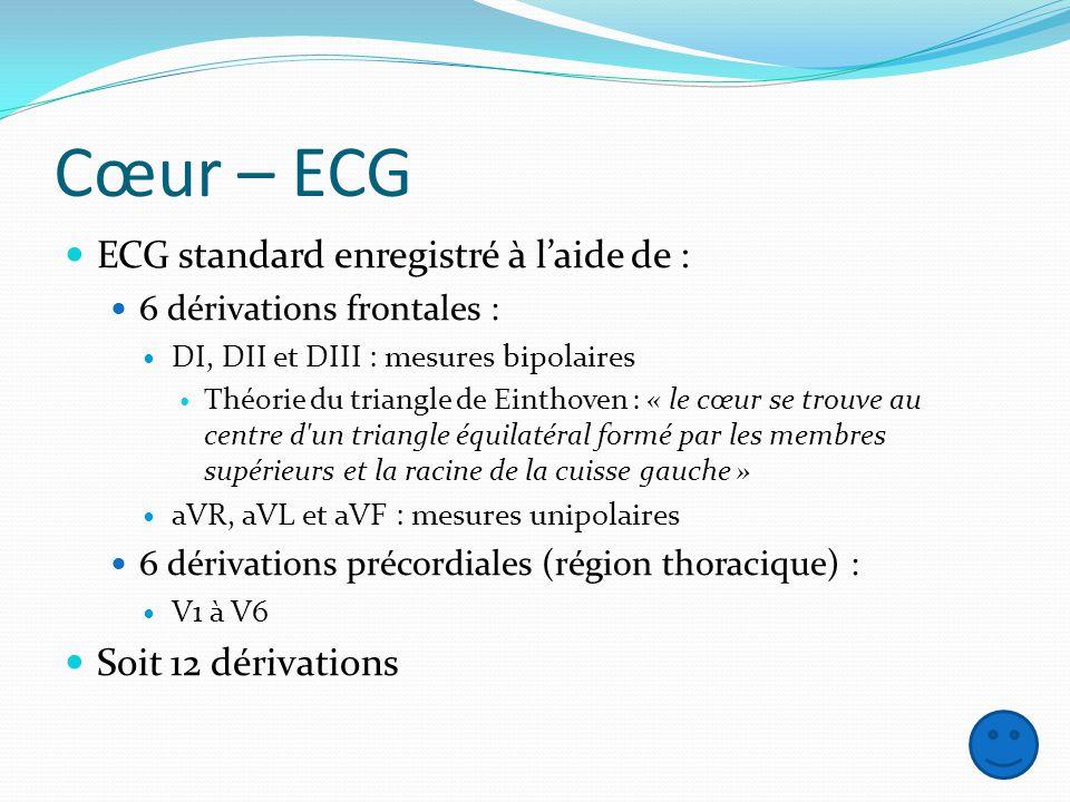 Cœur – ECG ECG standard enregistré à laide de : 6 dérivations frontales : DI, DII et DIII : mesures bipolaires Théorie du triangle de Einthoven : « le