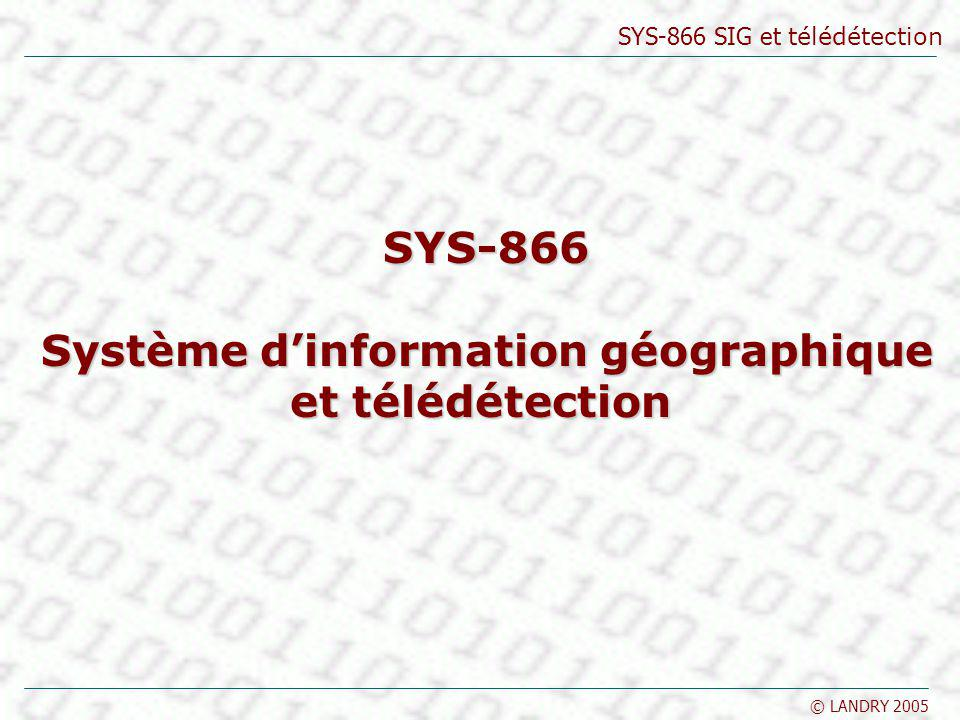 SYS-866 SIG et télédétection © LANDRY 2005 Les indices NDVI Noir absence de couverture végétale Blanc activité chlorophyllienne très élevée Télédétection Source : tpouchin.club.fr