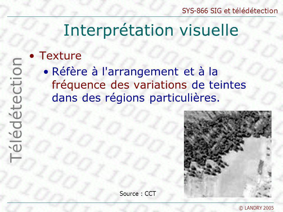 SYS-866 SIG et télédétection © LANDRY 2005 Interprétation visuelle Texture Réfère à l'arrangement et à la fréquence des variations de teintes dans des