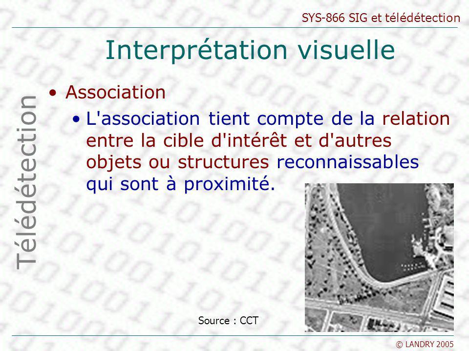 SYS-866 SIG et télédétection © LANDRY 2005 Interprétation visuelle Association L'association tient compte de la relation entre la cible d'intérêt et d