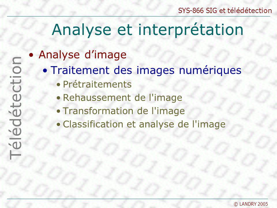 SYS-866 SIG et télédétection © LANDRY 2005 Analyse et interprétation Analyse dimage Traitement des images numériques Prétraitements Rehaussement de l'