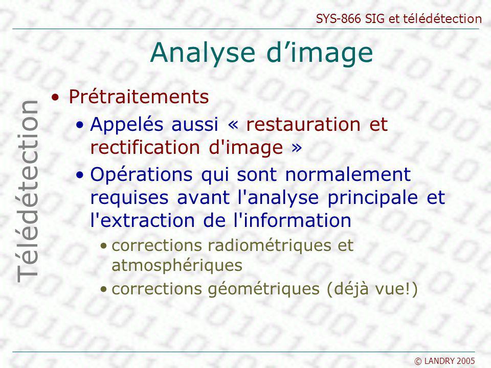 SYS-866 SIG et télédétection © LANDRY 2005 Analyse dimage Prétraitements Appelés aussi « restauration et rectification d'image » Opérations qui sont n