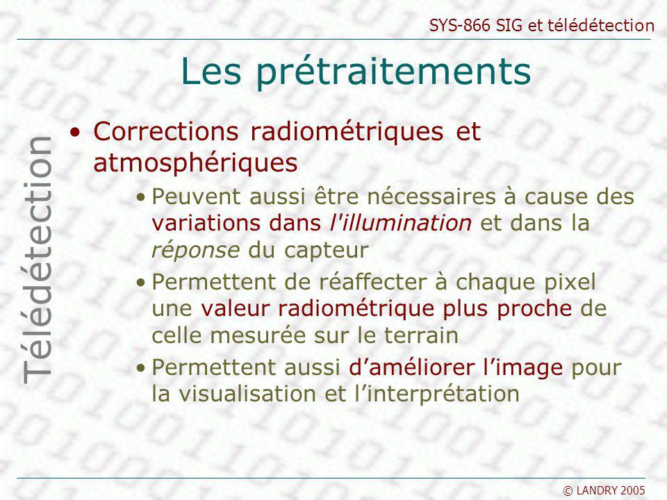 SYS-866 SIG et télédétection © LANDRY 2005 Les prétraitements Corrections radiométriques et atmosphériques Peuvent aussi être nécessaires à cause des