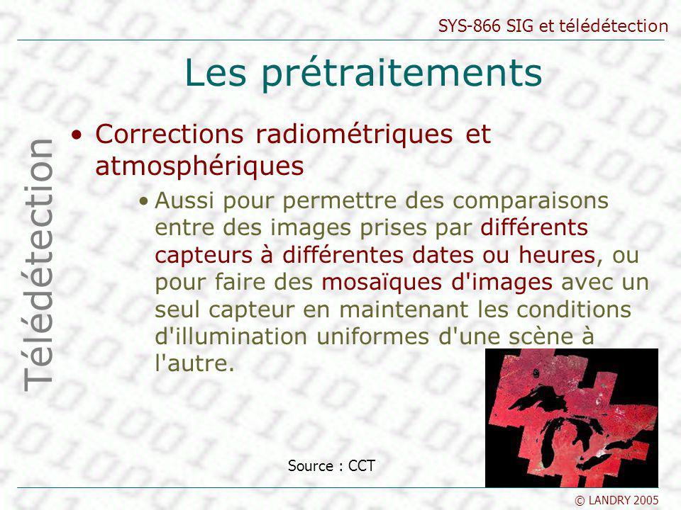 SYS-866 SIG et télédétection © LANDRY 2005 Les prétraitements Corrections radiométriques et atmosphériques Aussi pour permettre des comparaisons entre