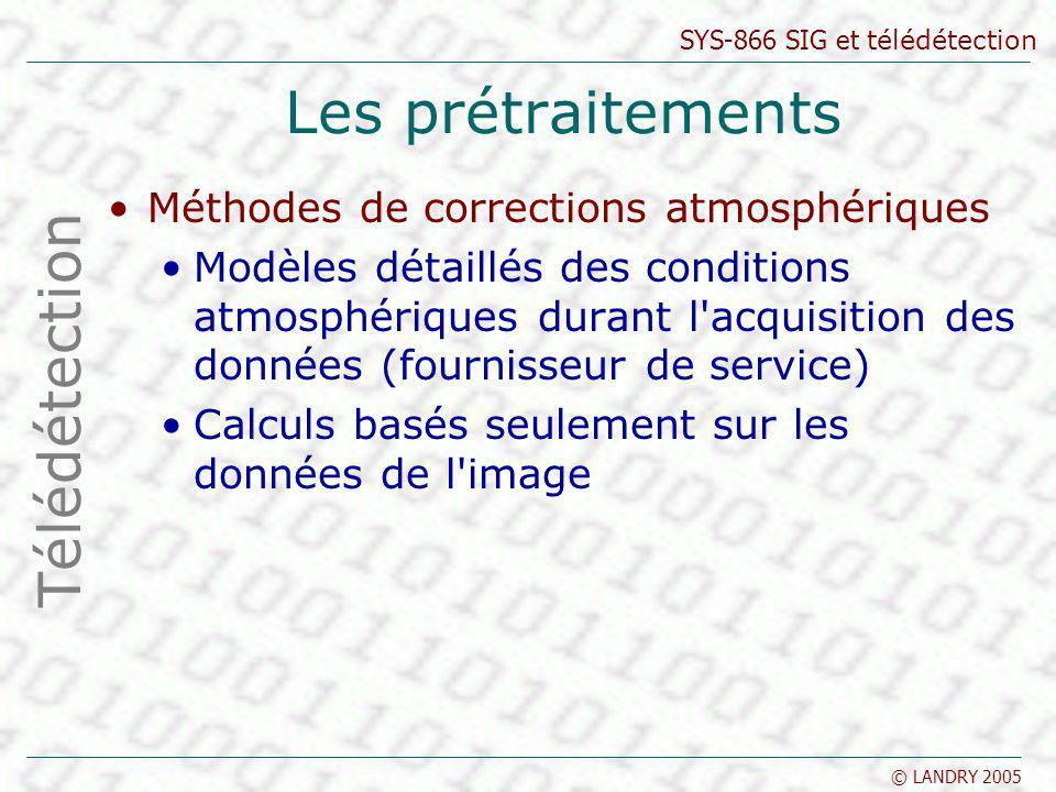 SYS-866 SIG et télédétection © LANDRY 2005 Les prétraitements Méthodes de corrections atmosphériques Modèles détaillés des conditions atmosphériques d