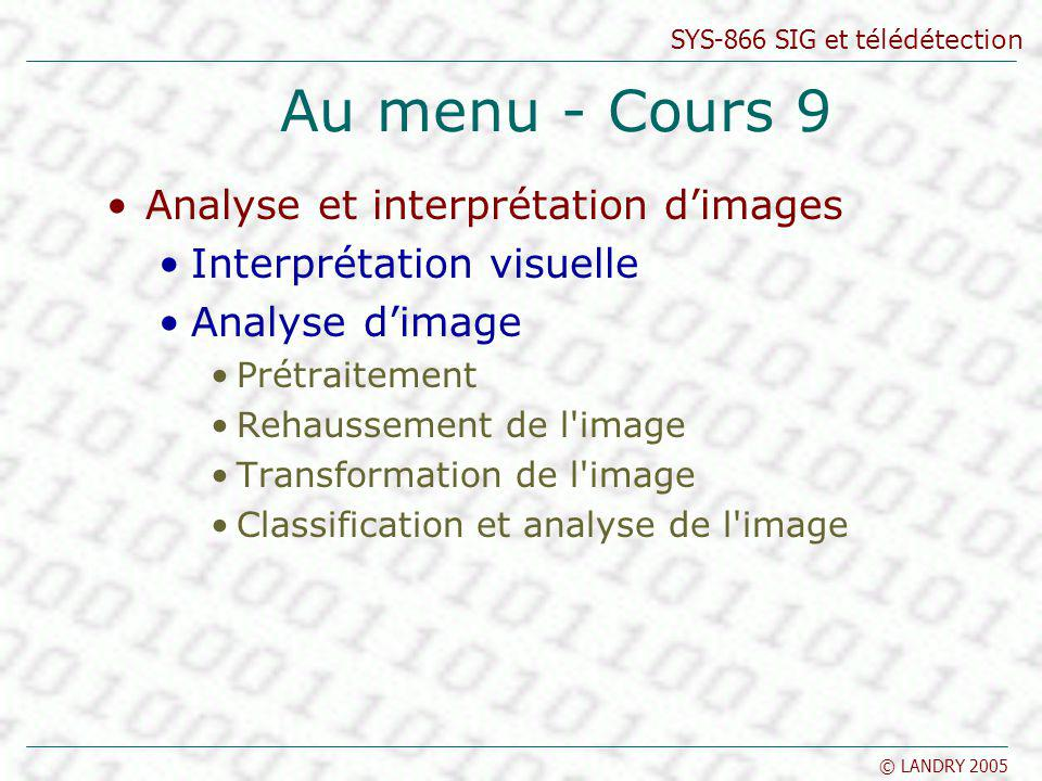 SYS-866 SIG et télédétection © LANDRY 2005 Au menu - Cours 9 Analyse et interprétation dimages Interprétation visuelle Analyse dimage Prétraitement Rehaussement de l image Transformation de l image Classification et analyse de l image
