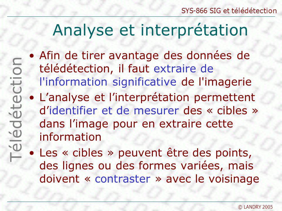 SYS-866 SIG et télédétection © LANDRY 2005 Classification Les classes d information Catégories d intérêt que lon tente d identifier dans les images cultures, forêts ou d espèce d arbres, caractéristiques géologiques ou roches, etc.