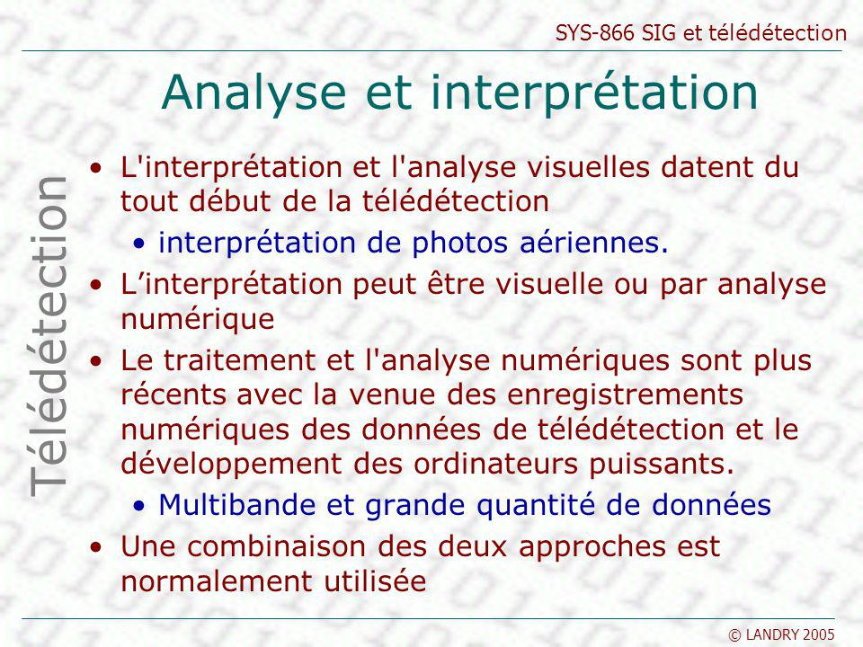 SYS-866 SIG et télédétection © LANDRY 2005 Les indices Télédétection NDVI = (PIR-R) / (PIR+R) IBS = sqrt [(R)² + (PIR)²] [(3 x Vert) - Rouge - 100] Source : tpouchin.club.fr