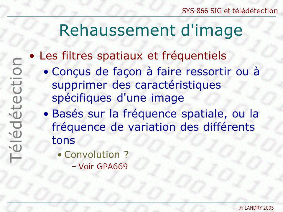 SYS-866 SIG et télédétection © LANDRY 2005 Rehaussement d'image Les filtres spatiaux et fréquentiels Conçus de façon à faire ressortir ou à supprimer
