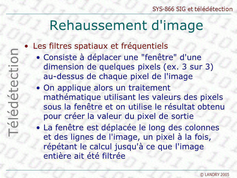 SYS-866 SIG et télédétection © LANDRY 2005 Rehaussement d'image Les filtres spatiaux et fréquentiels Consiste à déplacer une