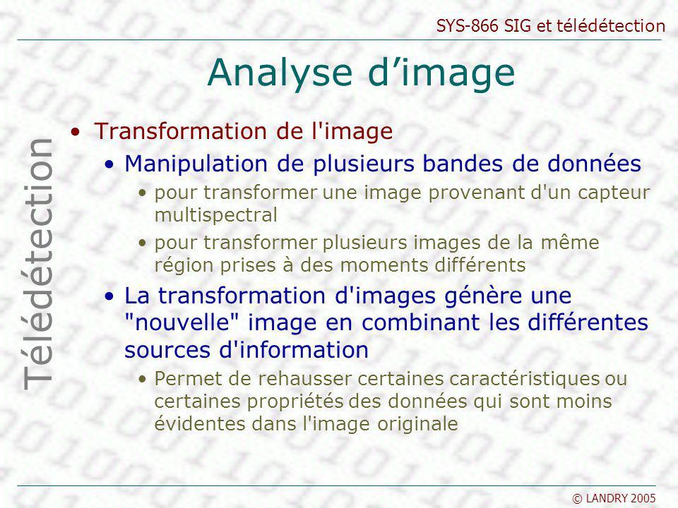 SYS-866 SIG et télédétection © LANDRY 2005 Analyse dimage Transformation de l'image Manipulation de plusieurs bandes de données pour transformer une i