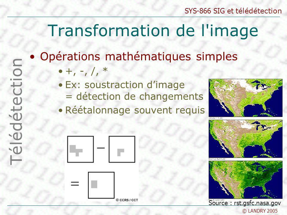 SYS-866 SIG et télédétection © LANDRY 2005 Transformation de l'image Opérations mathématiques simples +, -, /, * Ex: soustraction dimage = détection d