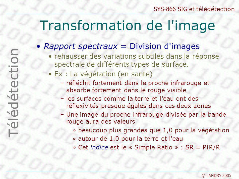 SYS-866 SIG et télédétection © LANDRY 2005 Transformation de l'image Rapport spectraux = Division d'images rehausser des variations subtiles dans la r