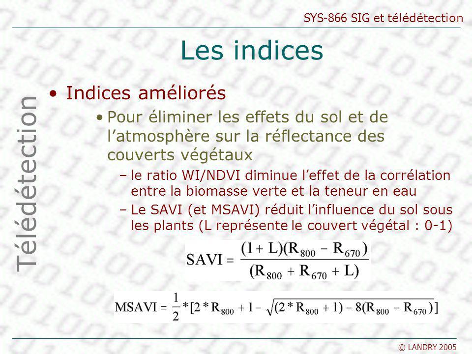 SYS-866 SIG et télédétection © LANDRY 2005 Les indices Indices améliorés Pour éliminer les effets du sol et de latmosphère sur la réflectance des couv