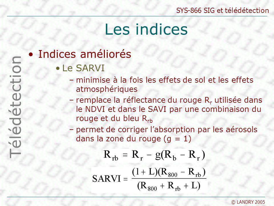SYS-866 SIG et télédétection © LANDRY 2005 Les indices Indices améliorés Le SARVI –minimise à la fois les effets de sol et les effets atmosphériques –