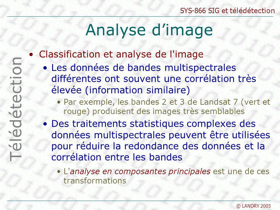 SYS-866 SIG et télédétection © LANDRY 2005 Analyse dimage Classification et analyse de l'image Les données de bandes multispectrales différentes ont s