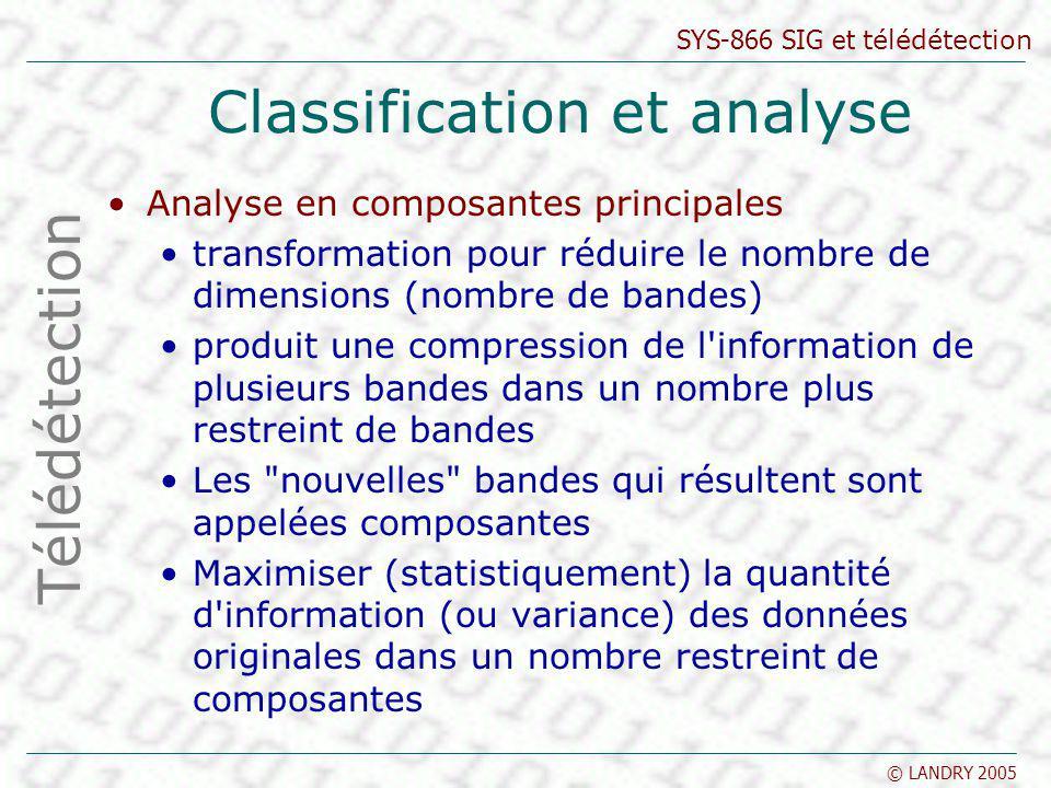 SYS-866 SIG et télédétection © LANDRY 2005 Classification et analyse Analyse en composantes principales transformation pour réduire le nombre de dimen