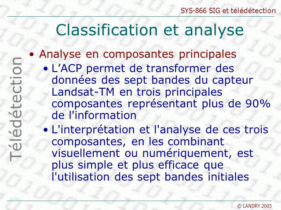 SYS-866 SIG et télédétection © LANDRY 2005 Classification et analyse Analyse en composantes principales LACP permet de transformer des données des sep