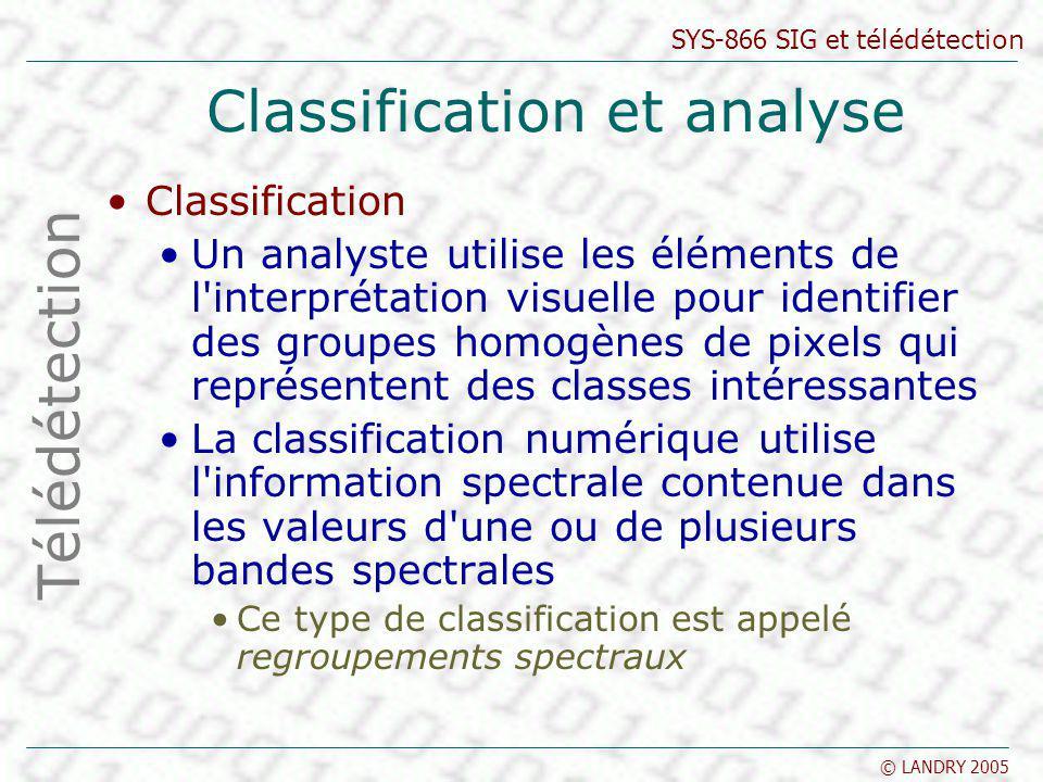 SYS-866 SIG et télédétection © LANDRY 2005 Classification et analyse Classification Un analyste utilise les éléments de l'interprétation visuelle pour