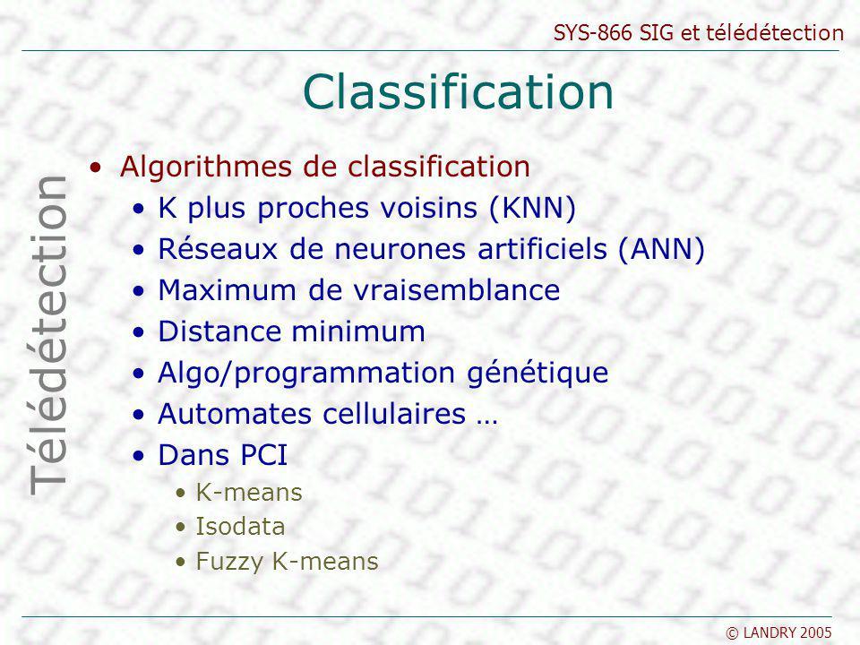 SYS-866 SIG et télédétection © LANDRY 2005 Classification Algorithmes de classification K plus proches voisins (KNN) Réseaux de neurones artificiels (