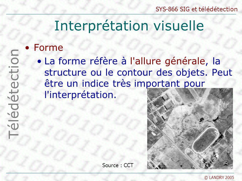 SYS-866 SIG et télédétection © LANDRY 2005 Classification Classification non supervisée Les classes spectrales sont formées en premier, basées sur l information numérique des données seulement Ces classes sont ensuite associées, par un analyste, à des classes d information utiles (si possible) Télédétection Source : CCT