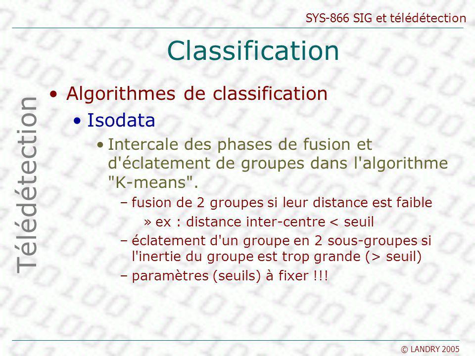 SYS-866 SIG et télédétection © LANDRY 2005 Classification Algorithmes de classification Isodata Intercale des phases de fusion et d'éclatement de grou