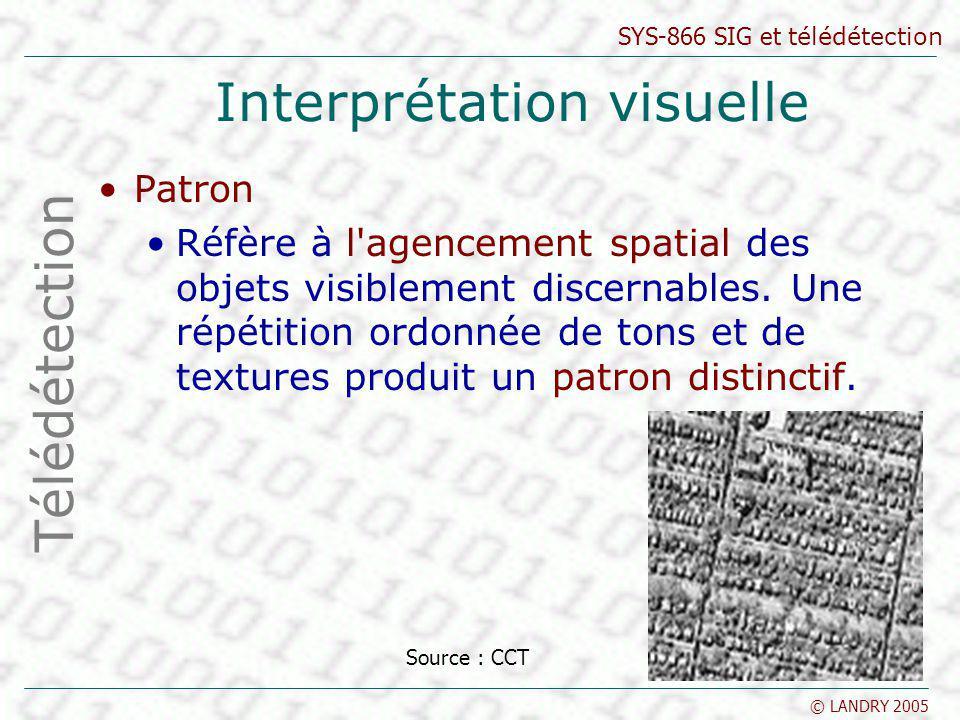 SYS-866 SIG et télédétection © LANDRY 2005 Interprétation visuelle Texture Réfère à l arrangement et à la fréquence des variations de teintes dans des régions particulières.
