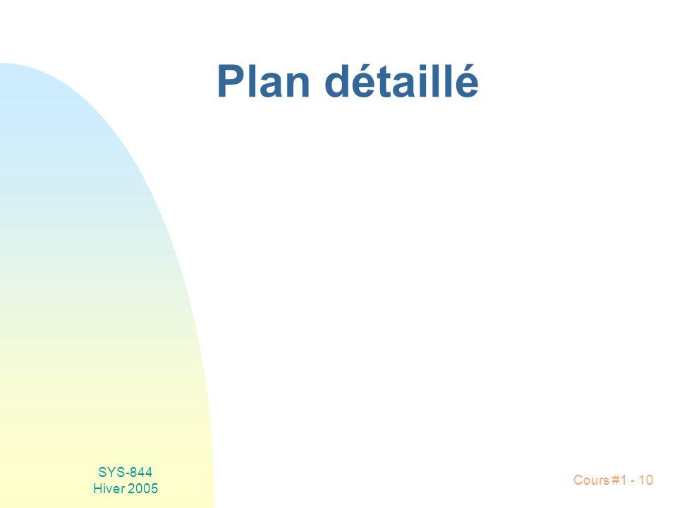 SYS-844 Hiver 2005 Cours #1 - 10 Plan détaillé