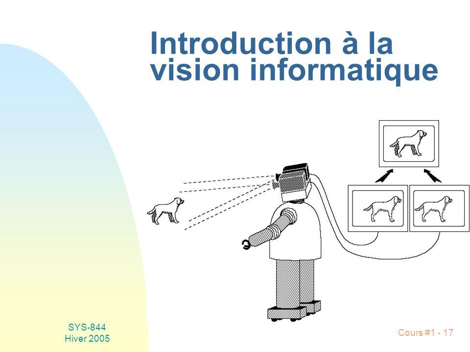 SYS-844 Hiver 2005 Cours #1 - 17 Introduction à la vision informatique