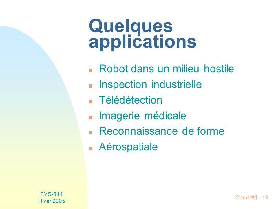 SYS-844 Hiver 2005 Cours #1 - 19 Quelques applications n Robot dans un milieu hostile n Inspection industrielle n Télédétection n Imagerie médicale n Reconnaissance de forme n Aérospatiale