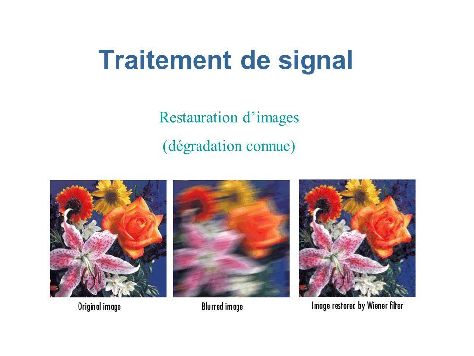 Traitement de signal Restauration dimages (dégradation connue)