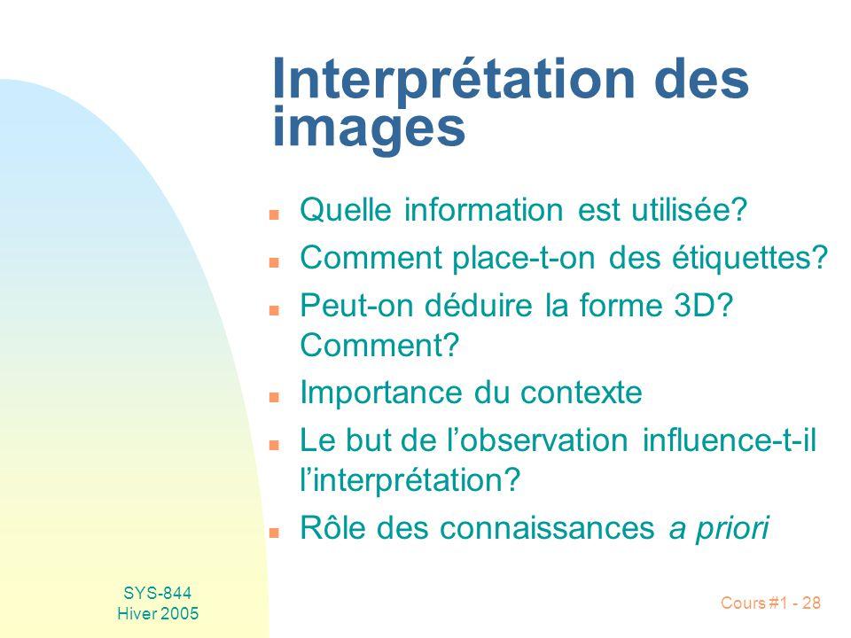 SYS-844 Hiver 2005 Cours #1 - 28 Interprétation des images n Quelle information est utilisée.