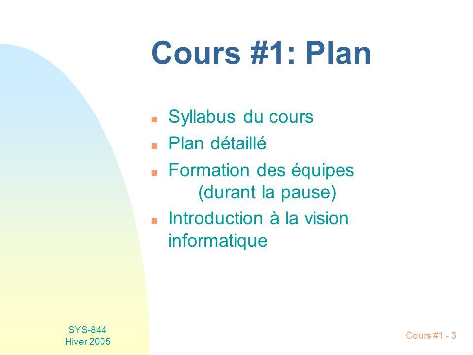 SYS-844 Hiver 2005 Cours #1 - 3 Cours #1: Plan n Syllabus du cours n Plan détaillé n Formation des équipes (durant la pause) n Introduction à la vision informatique