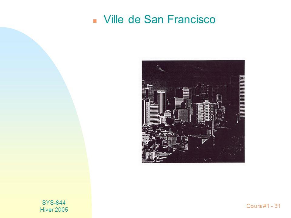 SYS-844 Hiver 2005 Cours #1 - 31 n Ville de San Francisco