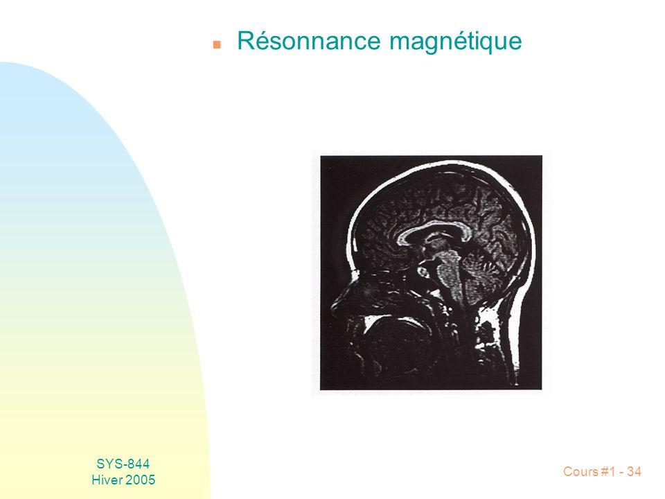 SYS-844 Hiver 2005 Cours #1 - 34 n Résonnance magnétique