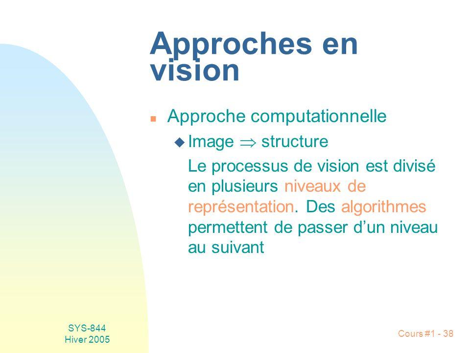 SYS-844 Hiver 2005 Cours #1 - 38 Approches en vision n Approche computationnelle u Image structure Le processus de vision est divisé en plusieurs niveaux de représentation.