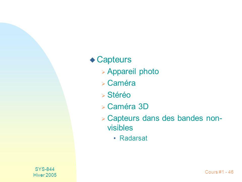 SYS-844 Hiver 2005 Cours #1 - 46 u Capteurs Appareil photo Caméra Stéréo Caméra 3D Capteurs dans des bandes non- visibles Radarsat