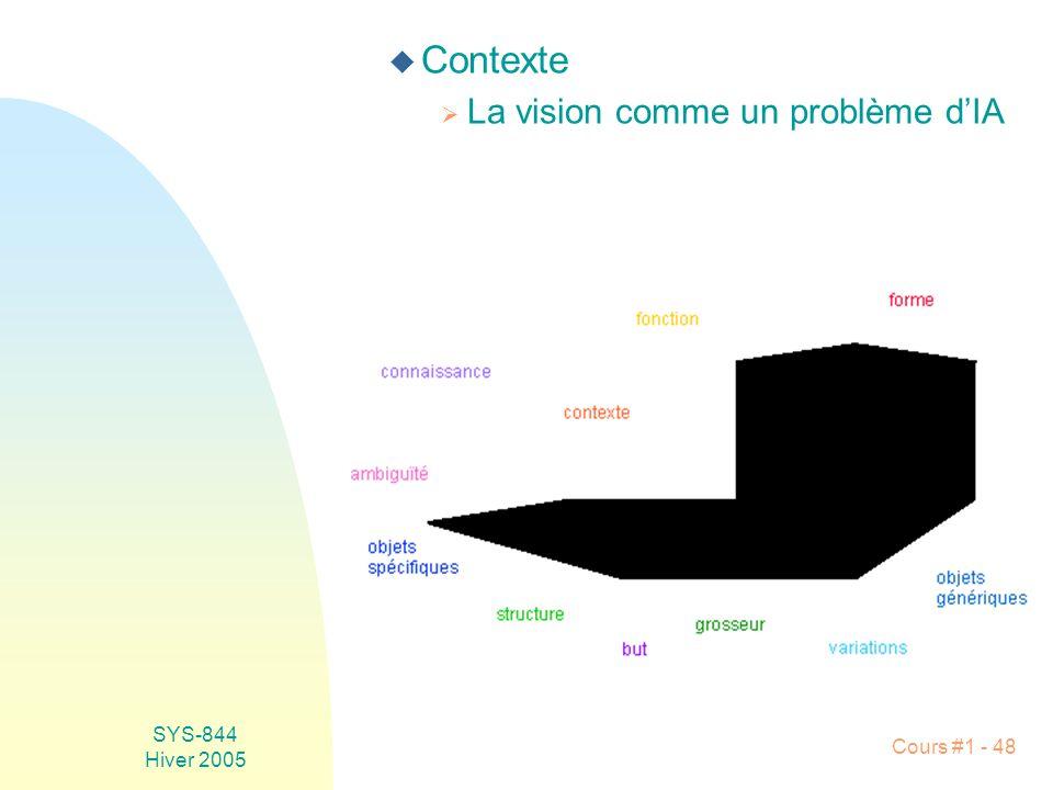 SYS-844 Hiver 2005 Cours #1 - 48 u Contexte La vision comme un problème dIA