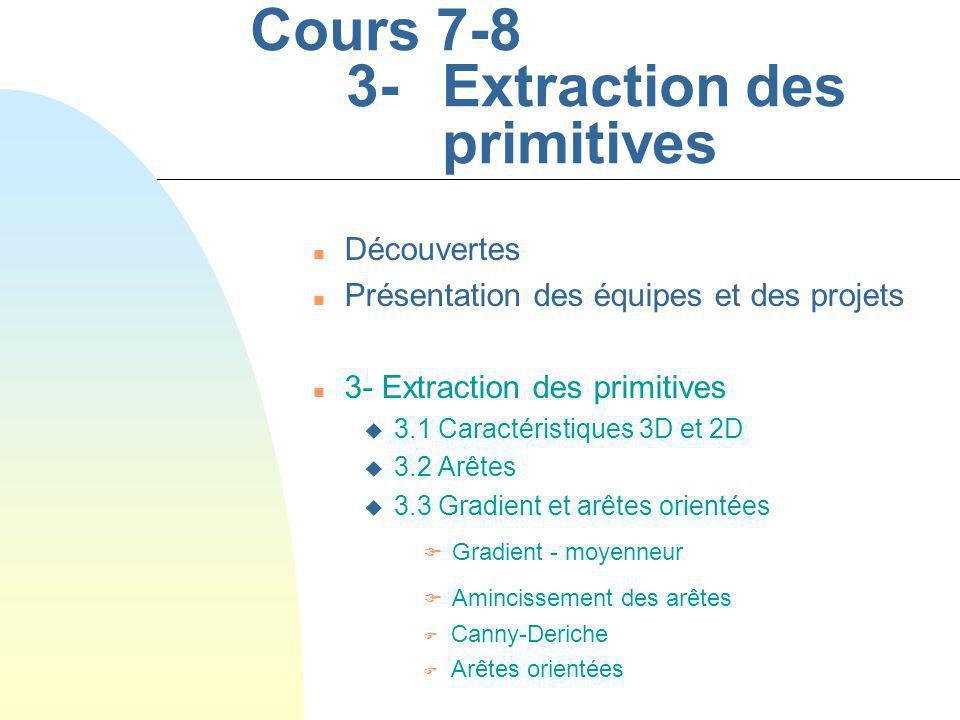 Cours #7-8 - 12 SYS-844 Hiver 2005 n Catégories darêtes u Échelon u Rampe u Barre u Crête u Point (eg spot lumineux)