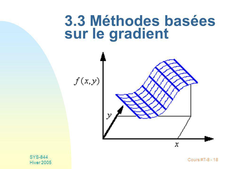 Cours #7-8 - 18 SYS-844 Hiver 2005 3.3 Méthodes basées sur le gradient