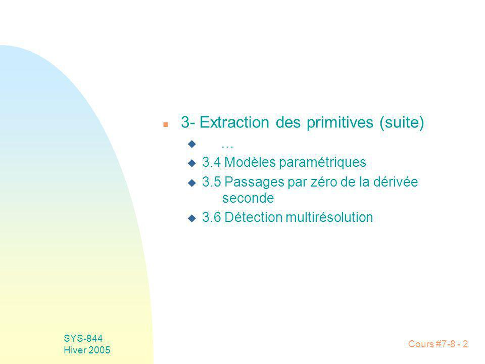 Cours #7-8 - 2 SYS-844 Hiver 2005 n 3- Extraction des primitives (suite) u … u 3.4 Modèles paramétriques u 3.5 Passages par zéro de la dérivée seconde u 3.6 Détection multirésolution