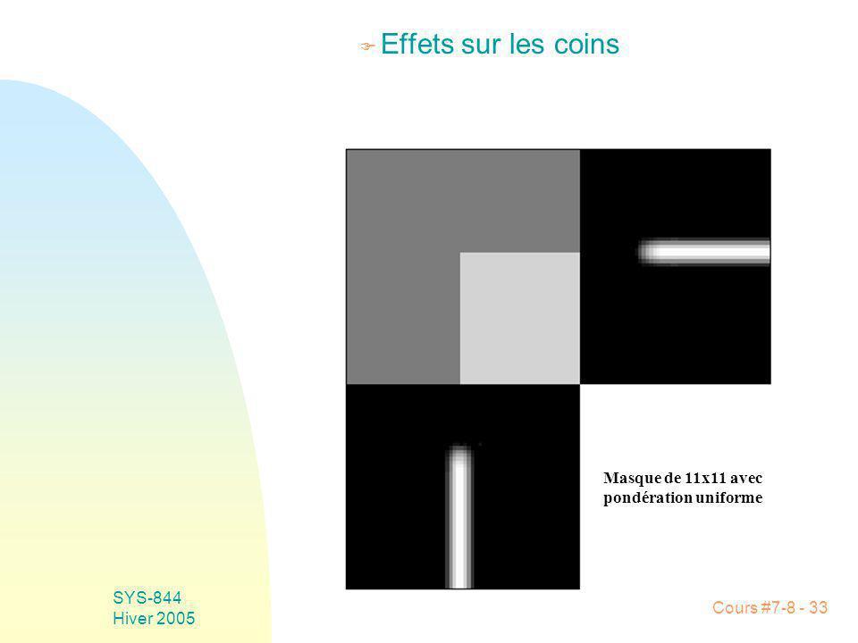 Cours #7-8 - 33 SYS-844 Hiver 2005 F Effets sur les coins Masque de 11x11 avec pondération uniforme