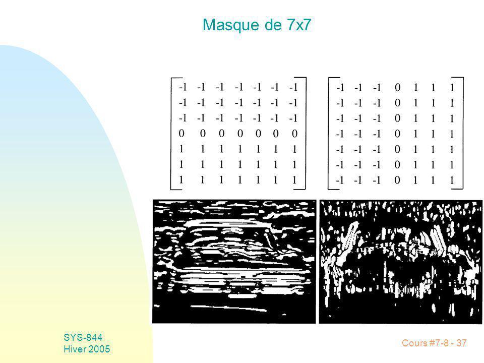Cours #7-8 - 37 SYS-844 Hiver 2005 Masque de 7x7