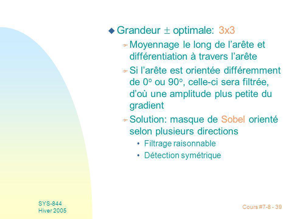 Cours #7-8 - 39 SYS-844 Hiver 2005 u Grandeur optimale: 3x3 F Moyennage le long de larête et différentiation à travers larête F Si larête est orientée différemment de 0 o ou 90 o, celle-ci sera filtrée, doù une amplitude plus petite du gradient F Solution: masque de Sobel orienté selon plusieurs directions Filtrage raisonnable Détection symétrique