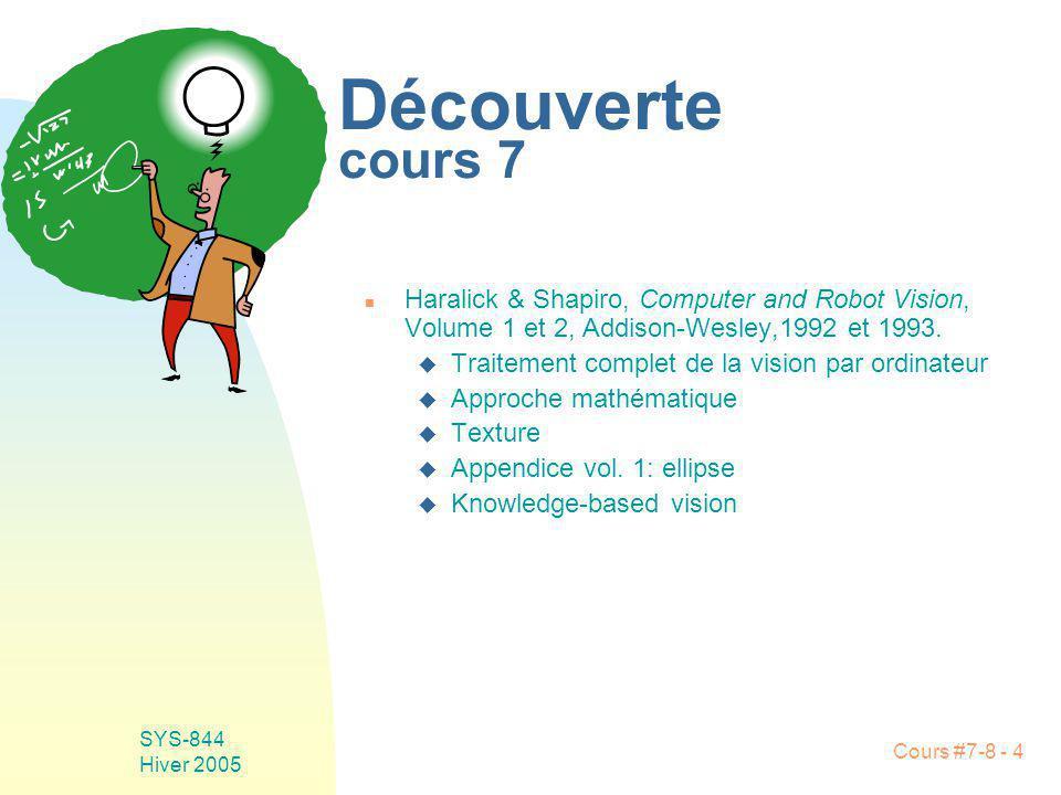 Cours #7-8 - 5 SYS-844 Hiver 2005 Découverte cours 8 n T.