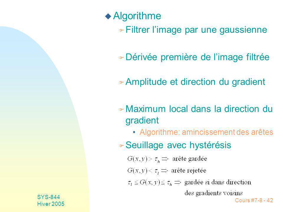 Cours #7-8 - 42 SYS-844 Hiver 2005 u Algorithme F Filtrer limage par une gaussienne F Dérivée première de limage filtrée F Amplitude et direction du gradient F Maximum local dans la direction du gradient Algorithme: amincissement des arêtes F Seuillage avec hystérésis