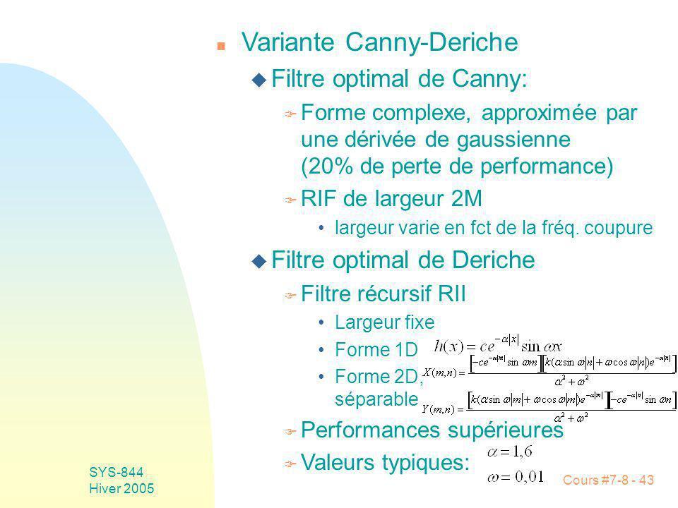 Cours #7-8 - 43 SYS-844 Hiver 2005 n Variante Canny-Deriche u Filtre optimal de Canny: F Forme complexe, approximée par une dérivée de gaussienne (20% de perte de performance) F RIF de largeur 2M largeur varie en fct de la fréq.